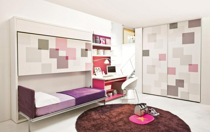 kinderzimmergestaltung runder teppich lila bettwäsche eingebauter kleiderschrank