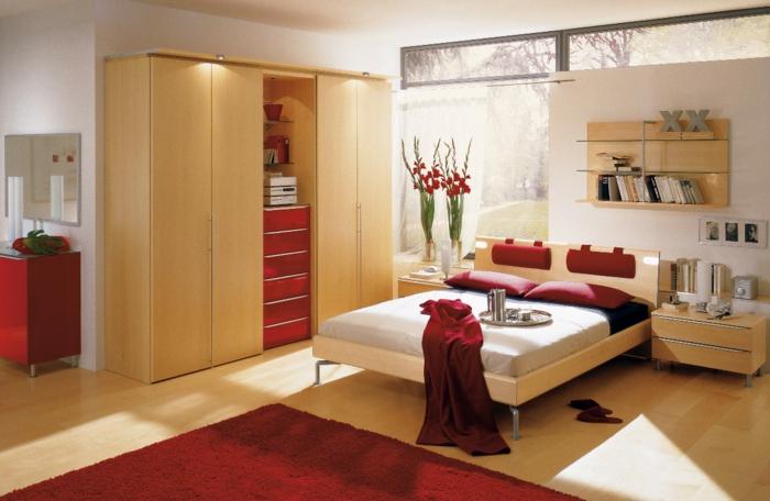 kleiderschrank beleuchtung wohnideen schlafzimmer rote akzente roter teppich
