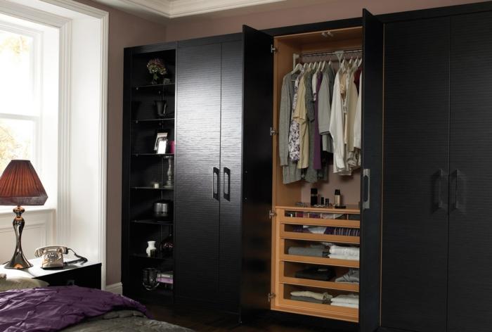 kleiderschrank schwarz großer stauraum wohnideen schlafzimmer