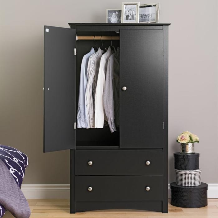 kleiderschrank schwarz schubladen funktional wohnideen schlafzimmer