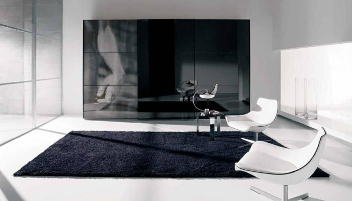 kleiderschrank schwarz schwarzer teppich modernes schlafzimmer