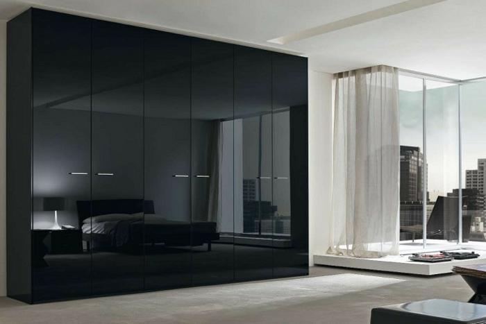 kleiderschrank schwarz stilvolles design glänzende frontseite