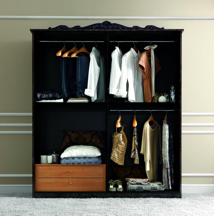 Offener Kleiderschrank In Kleinem Zimmer ~ kleiderschrank schwarz wohnideen schlafzimmer offener kleiderschrank
