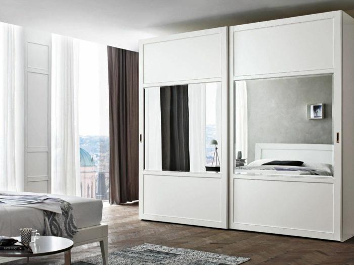 kleiderschrank weiß arhiexpo schiebetüren spiegel schlafzimmer