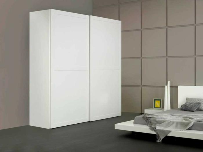 kleiderschrank weiß elegant schlafzimmer einrichten minimalistisches bett