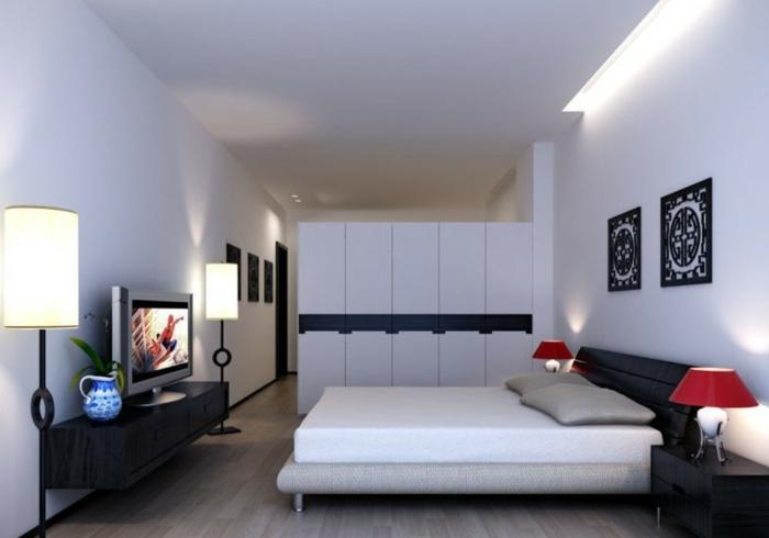 kleiderschrank weiß kleines schlafzimmer sideboard beleuchtung