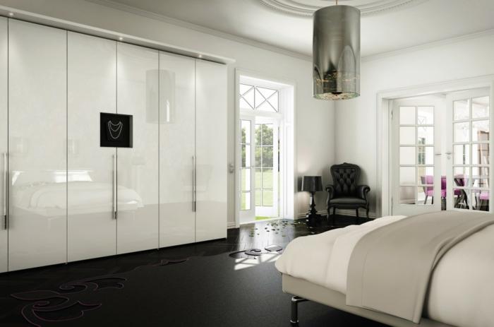 kleiderschrank weiß luxuriöses schlafzimmer dunkler boden