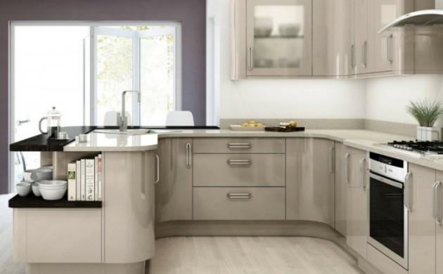 Kleine küchen einrichten beige küchenmöbel große arbeitsfläche