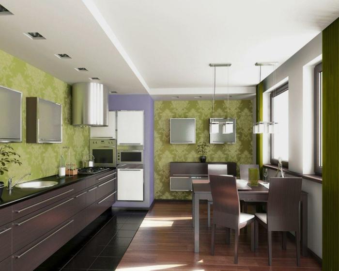 kleine küchen einrichten grüne wände deckenbeleuchtung