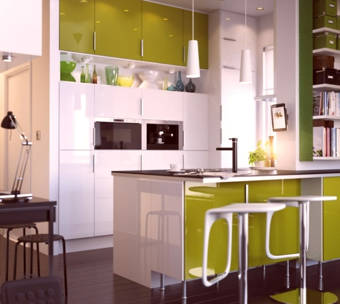 küchendesign kleine küche einrichten kücheninsel grüne akzente modern funktional