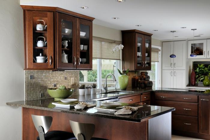 kleine küchen einrichten kücheninsel mosaikfliesen wohnideen küche