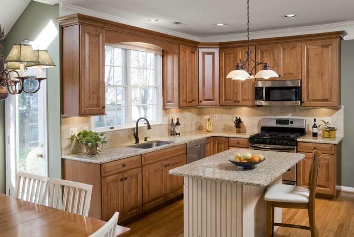 kleine küchen einrichten kleine kücheninsel küchenrückwand küchenschränke holztextur