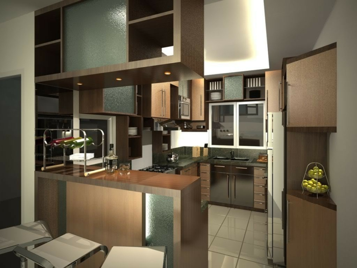 kleine küchen einrichten stilvoll bodenfliesen wohnideen küche