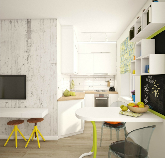 Kleine Küchen Einrichten Weiße Wandfarbe Farbige Akzente