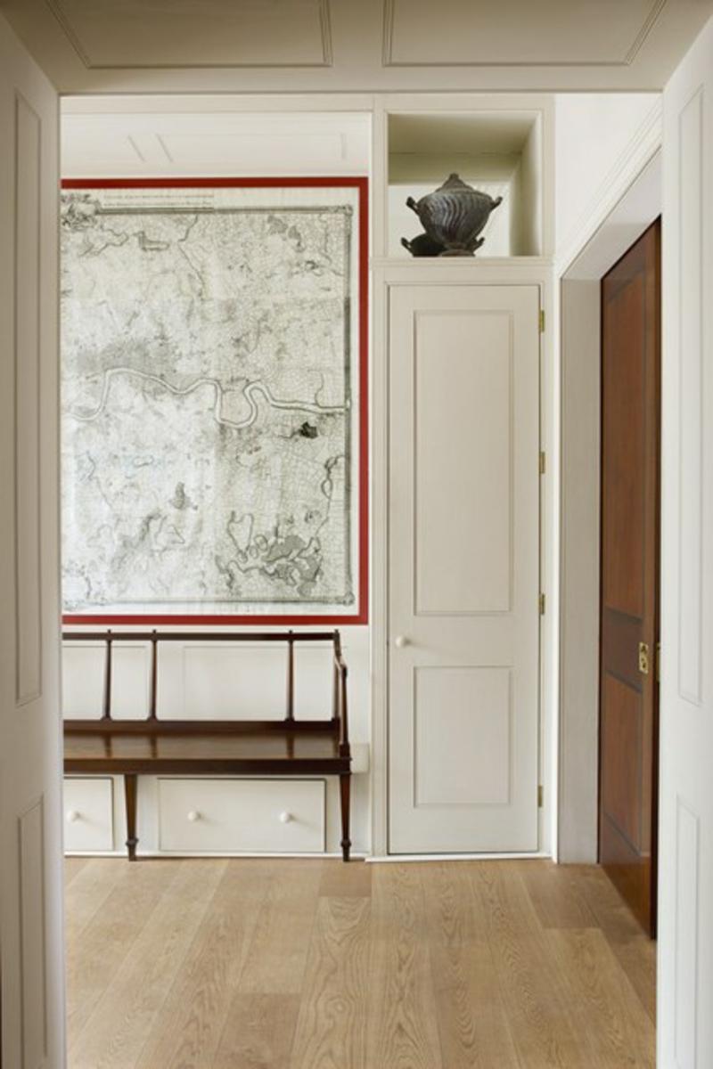 kreative Wanddeko Ideen Flur Weltkarte Kommode Flurmöbel
