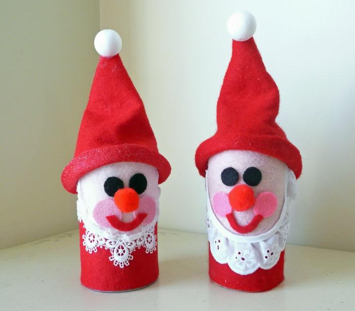 kreative bastelideen papierrolle wiederverwenden weihnachtsmänner
