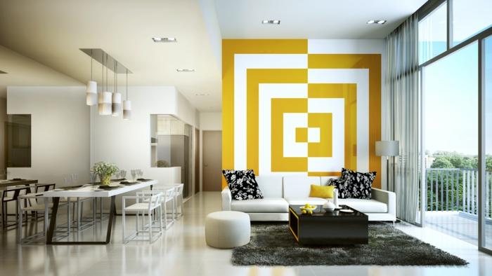 kreative wandgestaltung wandgestaltung farbgestaltung ähnliche farben 3d effekt gelb