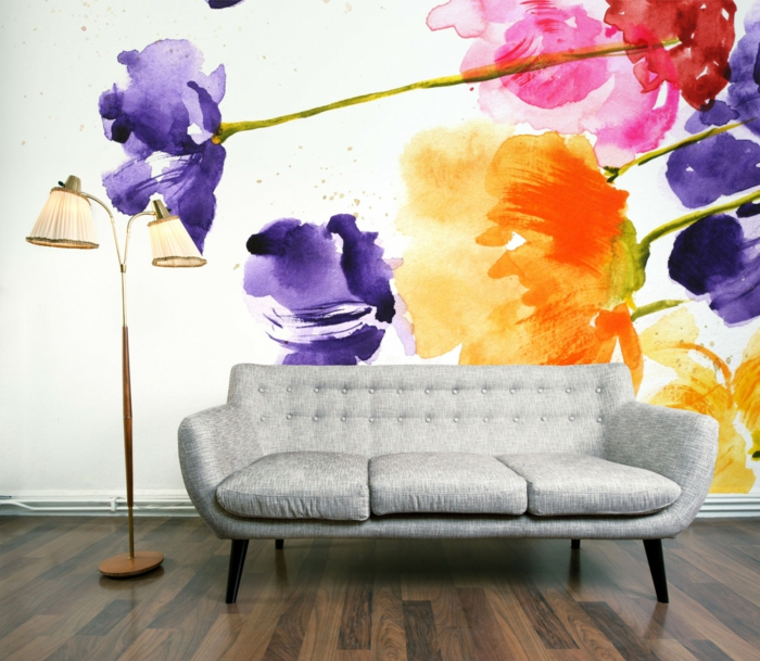 waende gestalten wandgestaltung farbgestaltung aquarel farben effekt blumen