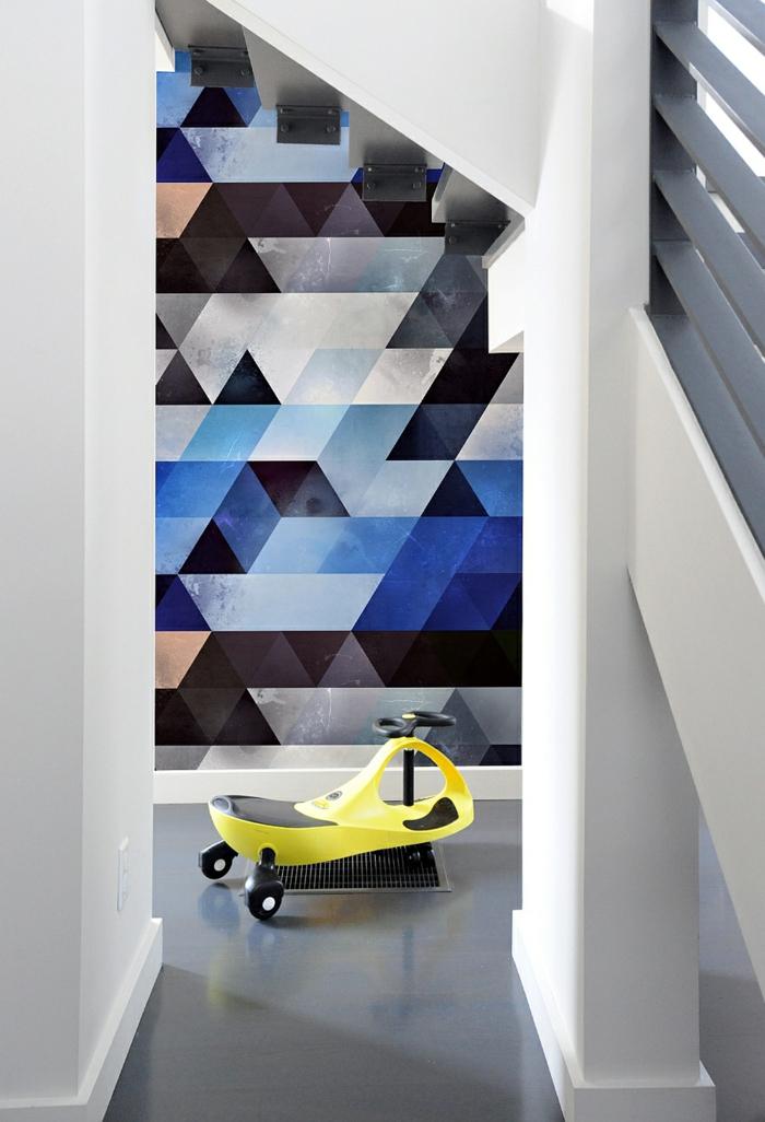 waende gestalten wandgestaltung farbgestaltung dreiecke dunke farben