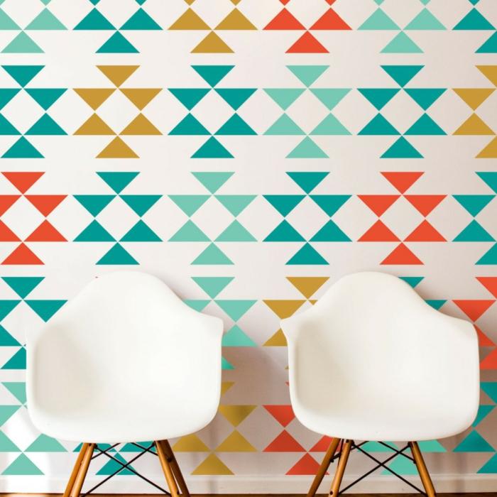 waende gestalten wandgestaltung farbgestaltung dreiecke ethno