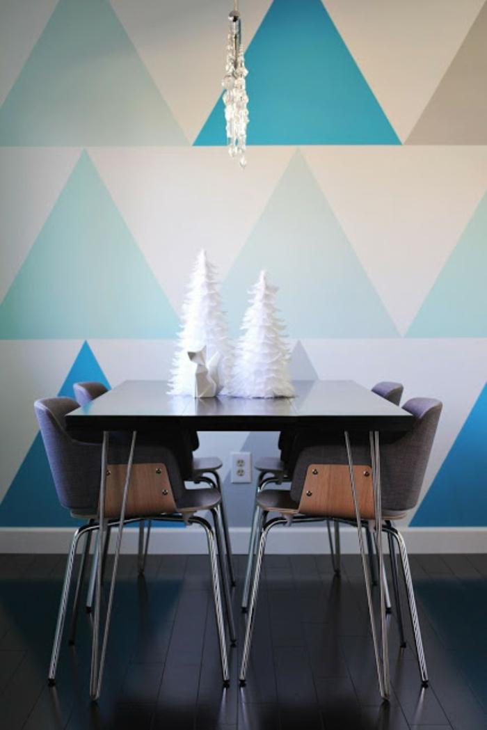 kreative wandgestaltung wandgestaltung farbgestaltung dreiecke gigantisch