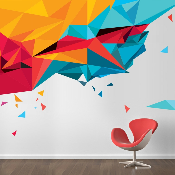 kreative wandgestaltung wandgestaltung farbgestaltung dreiecke grafity style
