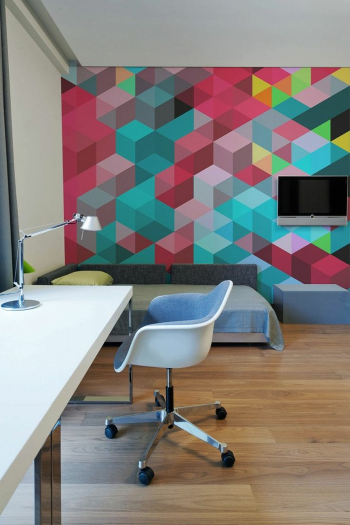 kreative wandgestaltung wandgestaltung farbgestaltung dreiecke kontrastrecih wirr