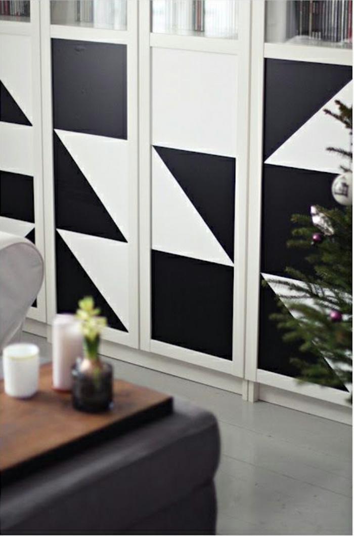 kreative wandgestaltung wandgestaltung farbgestaltung dreiecke schwarz weiß