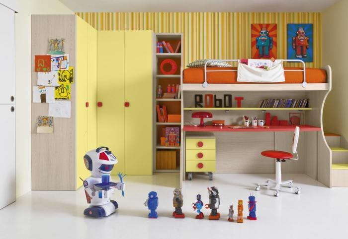 kreative wandgestaltung wandgestaltung farbgestaltung gelbe streifen kinderzimmer