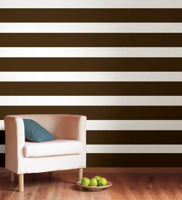 Wandgestaltung Wohnzimmer Streifen Braun Mustervorlagen Fr Eine Kreative  Wandgestaltung   Farbgestaltung Wohnzimmer Streifen