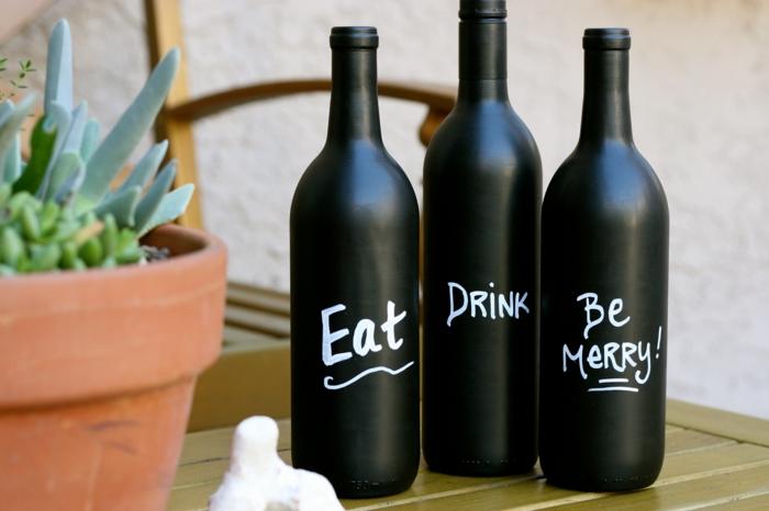 kreatives basteln weinflaschen küche dekorieren