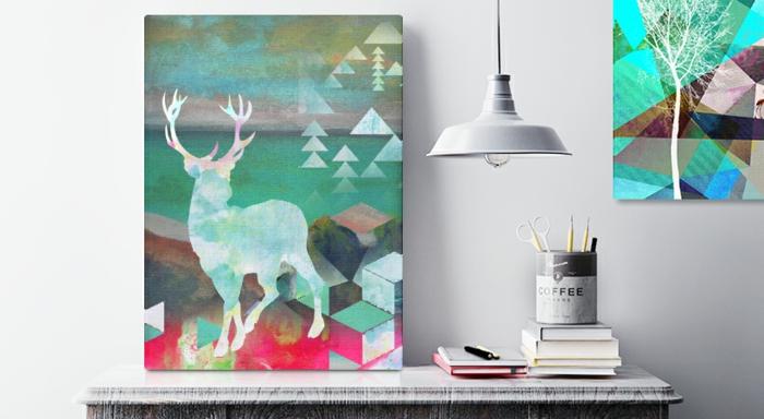 leinwandbilder online bestellen skandinavisch hirsch geometrische muster posterlounge