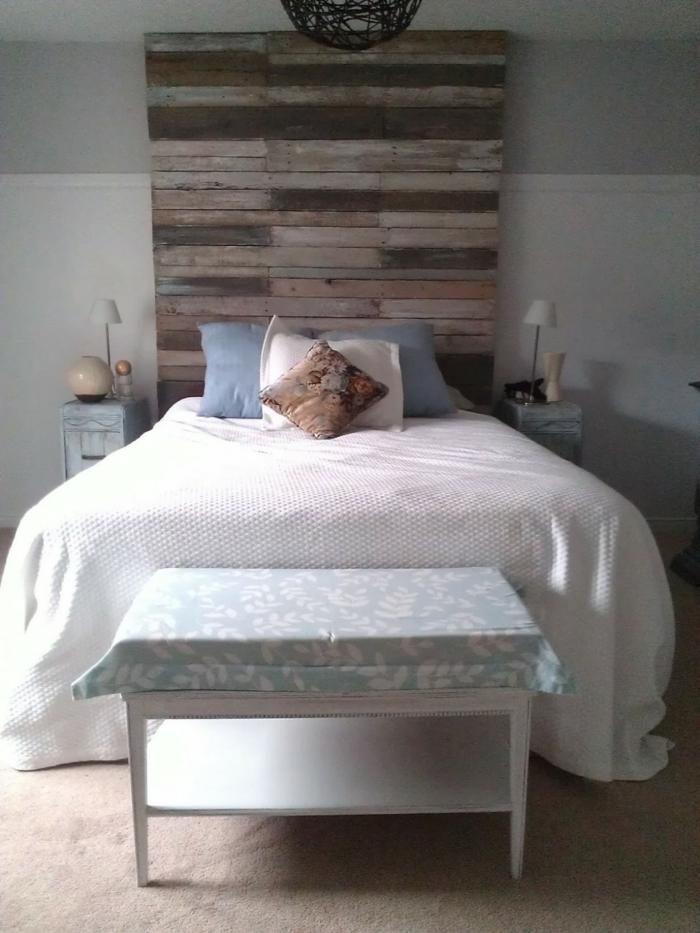 möbel selber bauen diy bettkopfteil rustikal schlafzimmerbank