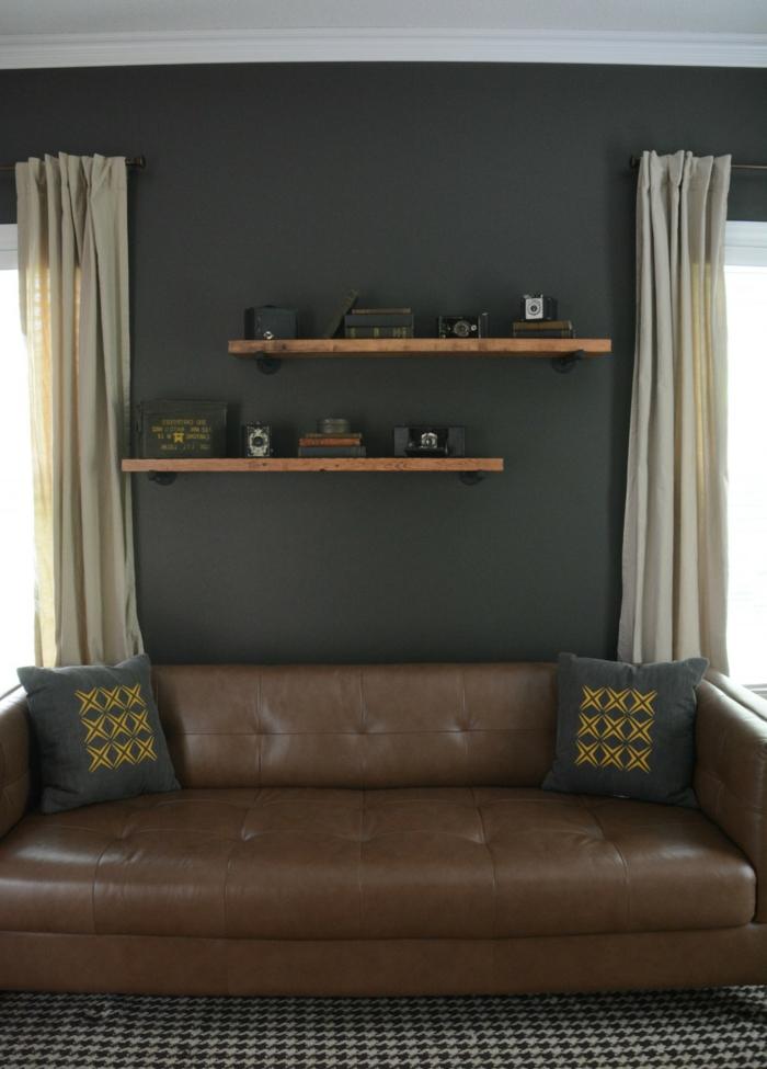 möbel selber bauen wandregale wohnideen wohnzimmer ledersofa