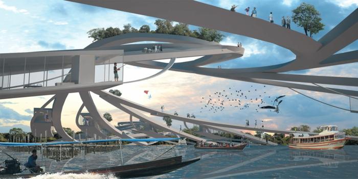 moderne architektur zukunftsansichten museum der zukunft brückenanlagen
