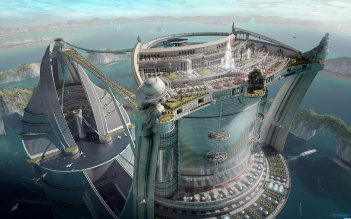 moderne architektur zukunftsansichten museum der zukunft dach platten baupläne