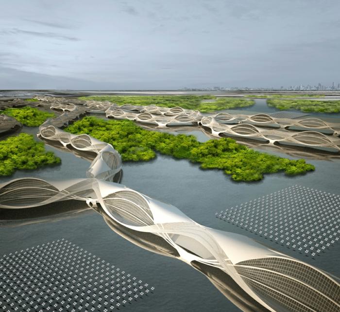 Moderne Architektur Zukunftsansichten Museum Der Zukunft Platten Brücken