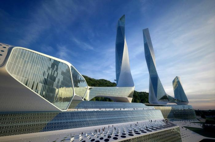 moderne architektur zukunftsansichten museum der zukunft dach platten organische formen