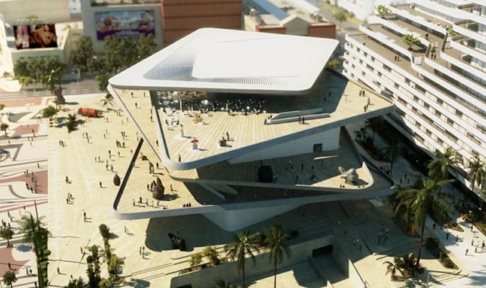moderne architektur zukunftsansichten museum der zukunft dach platten terrassen