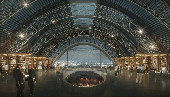 moderne architektur zukunftsansichten museum der  zukunft wolkenkratzer bücherei