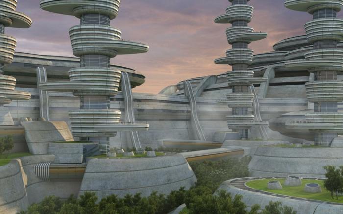 moderne architektur zukunftsansichten museum der  zukunft wolkenkratzer   licht wagemutig beton