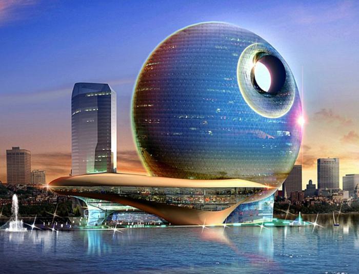 moderne architektur  zukunftsansichten museum der zukunft wolkenkratzer licht wagemutig globus