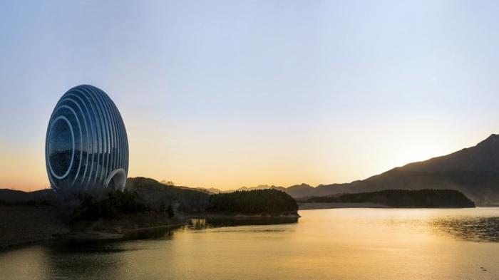 moderne architektur zukunftsansichten museum der zukunf  wolkenkratzer licht wagemutig