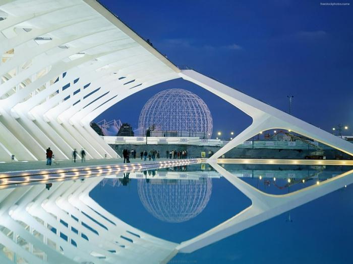 moderne architektur zukunftsansichten  museum der zukunft wolkenkratzer licht