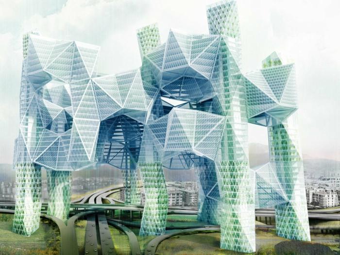 moderne architektur zukunftsansichten museum  der zukunft wolkenkratzer