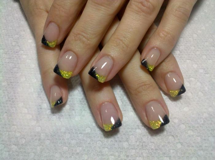 nageldesign schwarz gelb kombinieren schönheit tipps
