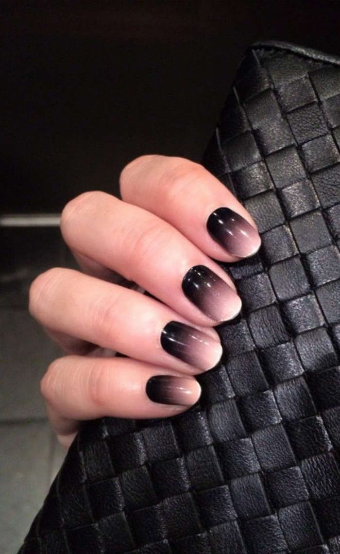 nageldesign schwarz ombre stil nageltrends
