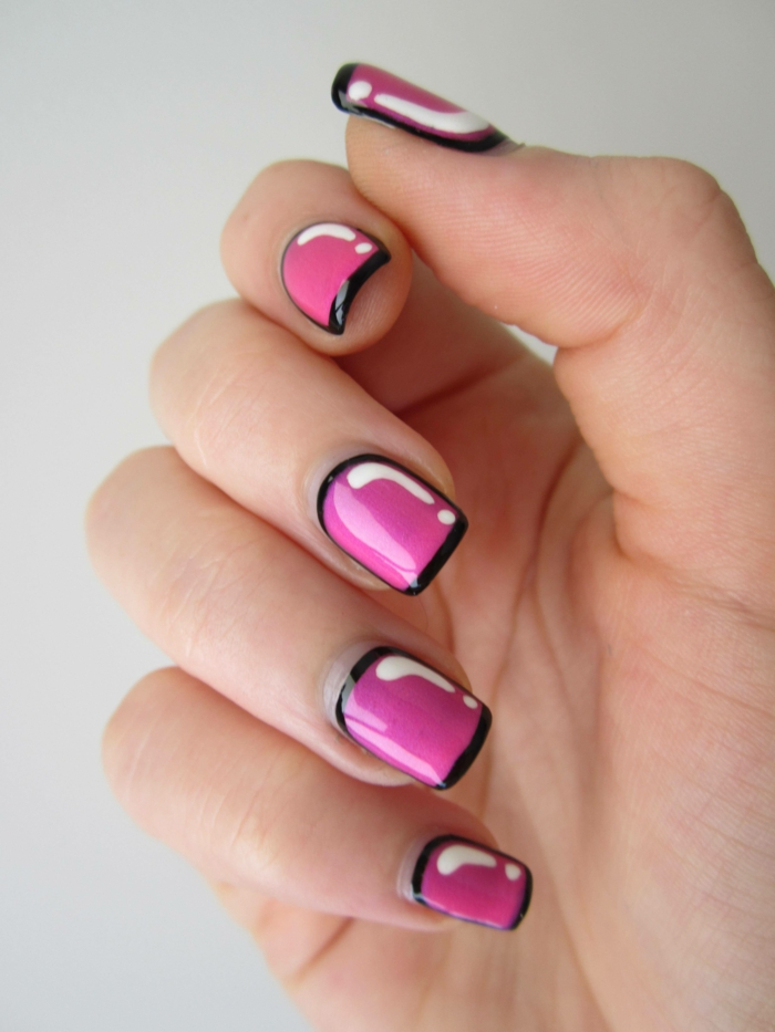 nageldesign schwarz rosa kombination weiße flecken