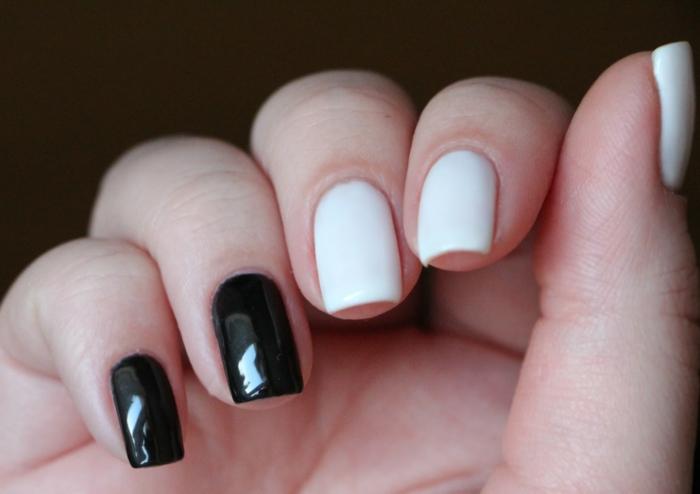 nageldesign schwarz weiß kombinieren nageltrends