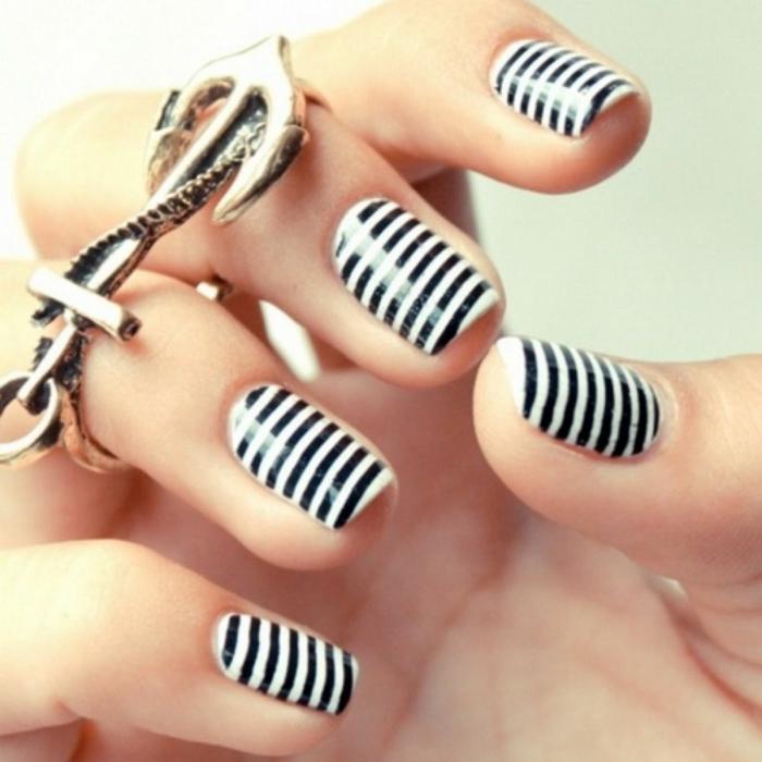 nageldesign schwarz zebra muster frisch